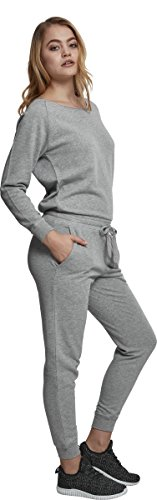 Urban Classics Damen Jumpsuit Ladies Long Sleeve Terry, Grau (Grey 00111) - 5