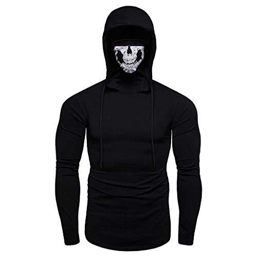Hoodieswj heren pullover sweatshirt maskers schedeldruk lichte splicing lange mouwen pullover capuchon sweatshirt tops voor herfst winter