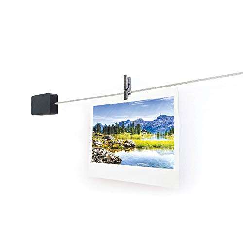 Tether iT | Adhesive Wall Mounted Wire Photo Display - Low Profile, Clean Look, 5 feet (Black)