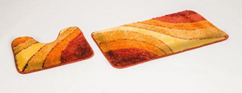 S&S-Shop Badematte Set   Terrakotta   Wave   mit Ausschnitt   2 teilig   rutschfest   WC-Vorleger 50 x 45 cm   Badvorleger 50 x 90 cm   Badteppich   Teppich   Bad   Badezimmer