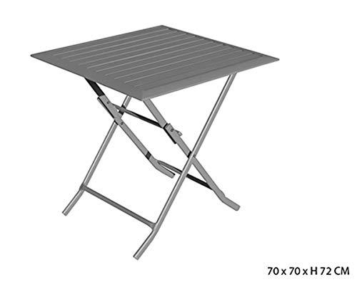 PEGANE Table carrée Pliante Coloris Gris Mat en Aluminium - 70 x 70 x H 72 cm