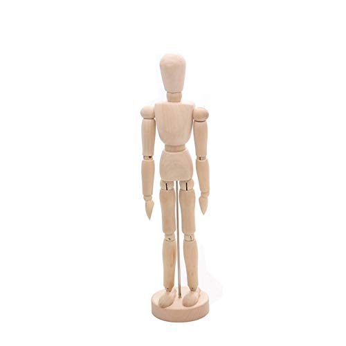 Wooden Body Hand Poseable Mannequin Flexible Artist Drawing Joint Adjustable Crafts Desk/Cabinet/Office/Study Interior Decoration (Puppet, S)