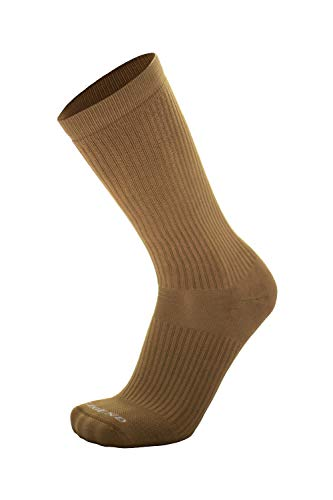 LEGEND (Warm Weather) Compression Superior Moisture Wicking Nylon Tactical Boot Socks (Coyote Brown, Large)