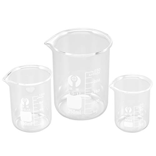 ibasenice Juego de Vasos de Precipitados de Vidrio - Juego de Vasos de Precipitados de Forma Baja de Medición de Vidrio Graduado - Vaso Medidor de Cristalería de Laboratorio de Doble Escala