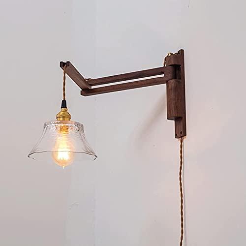 MWKL Apliques de Pared Plegables de Estilo japonés de Alto Rendimiento Lámparas de Pared de Nogal Negro Giratorio Ajustable E27 Luz de Montaje en Pared para Dormitorio