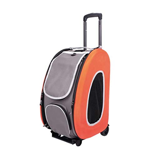 T5S6 Mini-kinderwagen, kleine en Medie honden en katten, inklapbaar, draagbaar, gewicht 8 kg, Oranje.