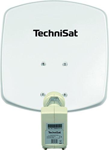TechniSat DIGIDISH 33 – Satelliten-Schüssel für 2 Teilnehmer (33 cm kleine Sat Anlage - Komplettset mit Wandhalterung und Universal Twin-LNB) weiß