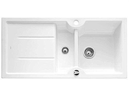 BLANCO IDESSA 6 S - Spülbecken (Weiß, 2 Bowling, 350 x 420 mm, 18,5 cm, 150 x 420 mm, 10 cm)