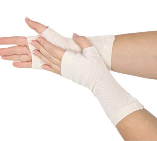 prettystern 100% Kaschmir Pulswärmer Stulpen gestrickte Damen Fingerlose Handschuhe Elfenbein Weiß