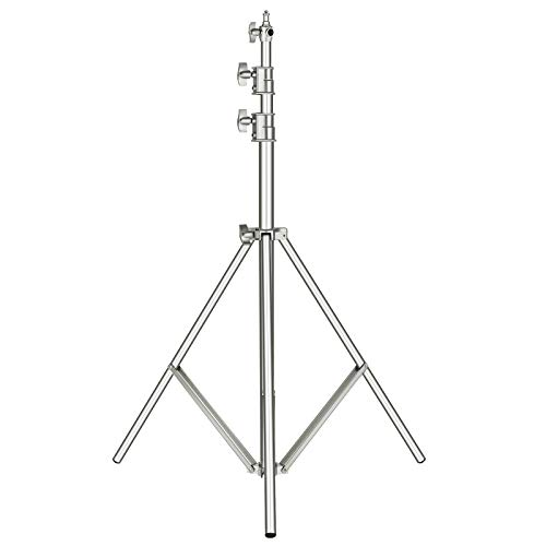 """Neewer Stainless Steel Heavy Duty Light Stand 118""""/300CM with 1/4-inch to 3/8-inch Universal Adapter for Photo Studio Softbox, Strobe Flash Monolight and Other Photographic Equipment (Silver)"""