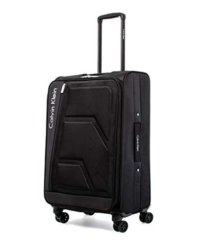 Calvin Klein Cross Track Softside Spinner Luggage, Black/White, 25 Inch
