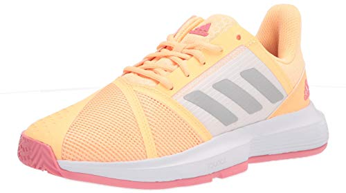 adidas Women's Courtjam Bounce Tennis Shoe, Acid Orange/Silver Metallic/Hazy Rose, 8