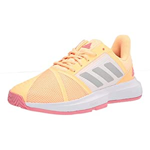 adidas Women's Courtjam Bounce Tennis Shoe, Acid Orange/Silver Metallic/Hazy Rose, 8.5