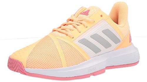 adidas Women's Courtjam Bounce Tennis Shoe, Acid Orange/Silver Metallic/Hazy Rose, 8