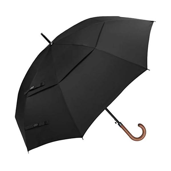G4Free 52/62inch Wooden J Handle Golf Umbrella Windproof UV Protection Classic Stick Wedding Cane Umbrellas, Auto Open…