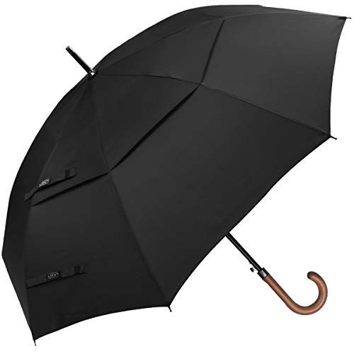 G4Free Wooden J Handle Classic Golf Umbrella Windproof Auto Open 52 inch Large Oversized Double Canopy Vented Rainproof Cane Stick Umbrellas for Men Women (Black)