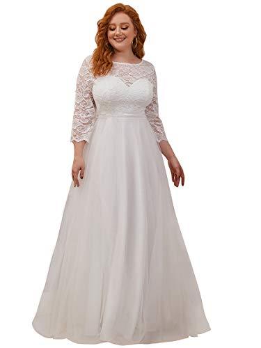 Ever-Pretty Damen Elegante Rundkragen Spitze Langarm Empire A-Linie Lange Hochzeitskleider für Braut Große Größe mit Zug Fegen Sahne 54EU