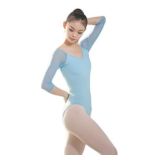 BOZEVON Femme Danse Justaucorps - Costumes de Gymnastique pour la Danse sans Dos Maille à Manches Courtes pour Grandes Filles, Bleu Ciel, L