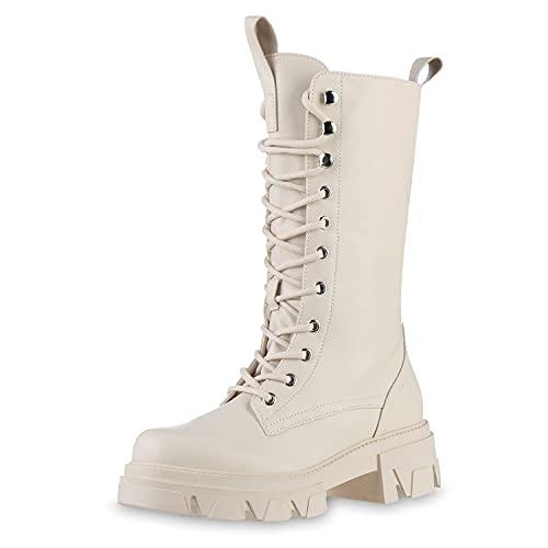 VAN HILL Damen Leicht Gefütterte Plateaustiefel Profilsohle Schuhe Blockabsatz Boots Schnürstiefel Plateau Vorne Stiefel Schnürer 201513 Beige 38