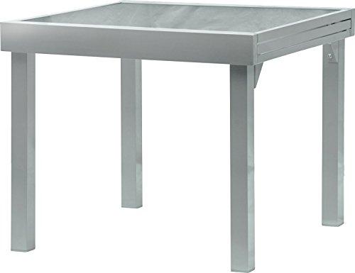 IB-Style - Diplomat Gartentisch-XL | Aluminium SILBERMATT | Premium Ausziehtisch 90-180 cm Gartentisch