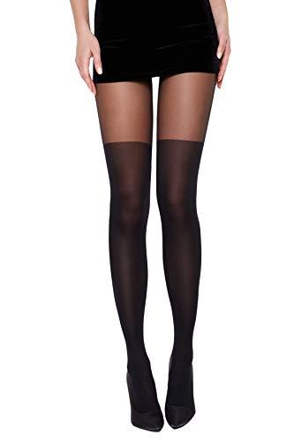 Selente Lovely Legs raffinierte Damen Strumpfhose in Strapsstrumpf-Optik, 40 DEN, made in EU, schwarz-Naht-Schleifchen, Gr. S