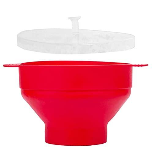 Microondas de maquinaria de palomitas de palomitas de palomitas de palomitas de maíz plegable tazón de alta temperatura para microondas fabricante de palomitas de maíz, taza de cocción roja
