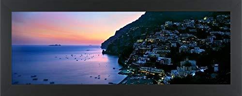 "Easy Art Prints Panoramic Images's 'Buildings lit up at Night, Positano, Amalfi, Amalfi Coast, Campania, Italy' Premium Framed Canvas Art - 24"" x 8""- Classic Black Frame"
