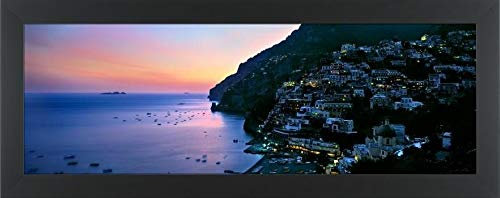 "Easy Art Prints Panoramic Images's 'Buildings lit up at Night, Positano, Amalfi, Amalfi Coast, Campania, Italy' Premium Framed Canvas Art - 24"" x 8""- Classic Black Frame"