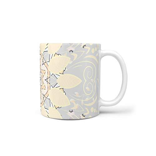 O5KFD&8 11 OZ Oldlace Mandala Getränke Müsli Becher Tassen mit Griff Hochwertige Keramik Fun Tasse - Blume Freunde Gegenwart, für Wohnheim verwenden White 330ml