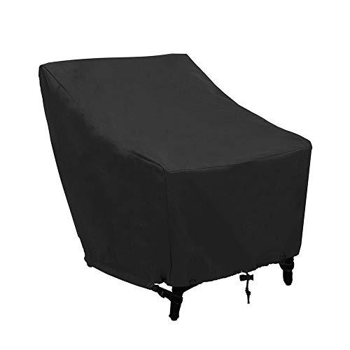 Funda Silla Jardín Impermeable Negro, Cubierta de sofá de jardín Protección solar Cubierta de protección de muebles anti UV con cordón y bolsa de almacenamiento para patio Patio exterior Interior