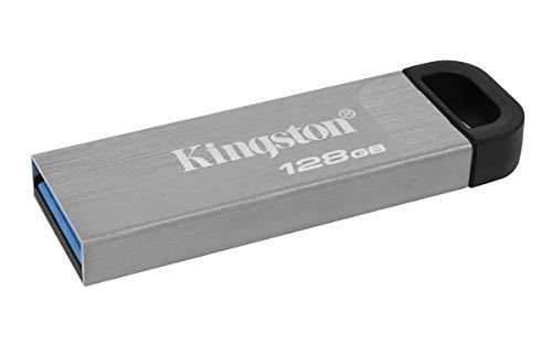 Kingston DataTraveler Kyson Unidad Flash USB3.2, 128GB-con Elegante Carcasa metálica sin capuchón