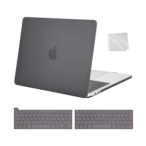 MOSISO MacBook Pro 13 inch Case 2016-2021 Release M1 A2338 A2289 A2251 A2159 A1989 A1706 A1708, Plastic Hard Shell Case&Keyboard Cover&Wipe Cloth Compatible with MacBook Pro 13 inch, Gray