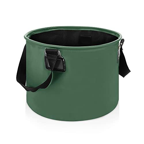 Navaris Cubo Plegable de Lona con Asas de 15 L - Tazón para Camping Pesca Escalada - Recipiente para Lavar almacenar Alimentos Ropa - 0.25 KG - Verde