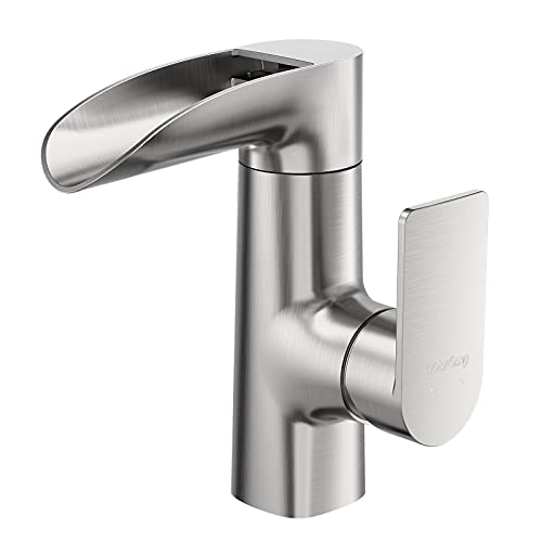 WaterSong Bathroom Sink Faucet - Waterfall Faucet for Bathroom Sink Brushed Nickel, Single Handle Bathroom Faucet 1 Hole, RV Deck Mount Basin Faucet Vessel Faucet, 360° Rotatable Head, 100% Lead-Free