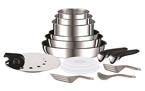 Tefal Ingenio Preference Batterie de cuisine 15 pièces induction, Casseroles (non revêtues), Poêles revêtues, Couvercles anti-projections + hermétiques, Spatules, Poignées, Inox L9409602