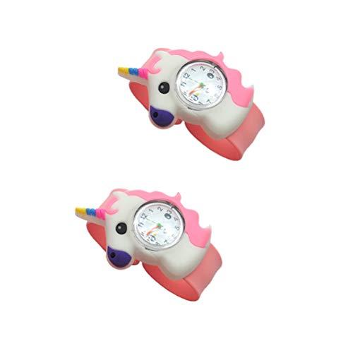 NICERIO 2 Piezas Relojes para Niños Reloj de Cuarzo de Silicona Reloj de PVC Reloj de Unicornio Moda Creativa Elegante Relojes de Cuarzo Adorables Relojes de Pulsera para Estudiantes Niños