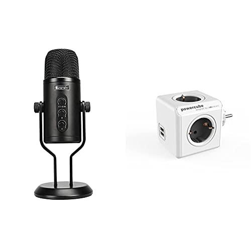 Amazon basics micrófono de Condensador Profesional con USB, Control de Volumen y Pantalla OLED, Negro + Power Cube Powercube Original USB