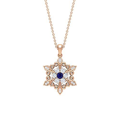 Rosec Jewels 10 quilates oro rosa redonda Blue Blue Sapphire Diamond