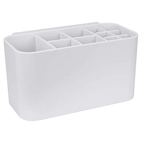 GOLRISEN Soporte para Cepillo de Dientes, Portacepillos de Dientes Pared con 11 Compartimentos, Soporte para Cepillos Eléctricos, Soporte para Pasta de Dientes, 17*9*9 cm, para Baño o Cocina, Blanco