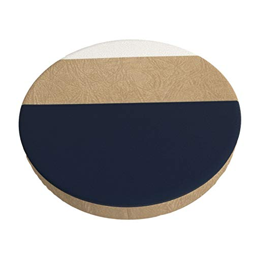 Round bar Chair Cushion Cover Breathable Washable Stool Cover,Navy and Faux Gold Leather Print Barstool Seat Covers Elastic Stool Slipcover 13 Inch