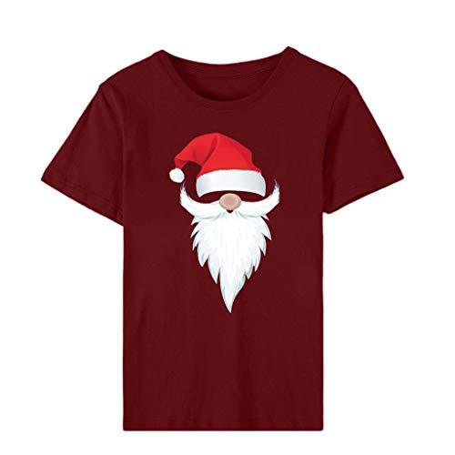 ZODOF camiseta de navidad mujer Moda Estampado de navidad O-cuello Manga corta Casual Linda Camisa de vacaciones...