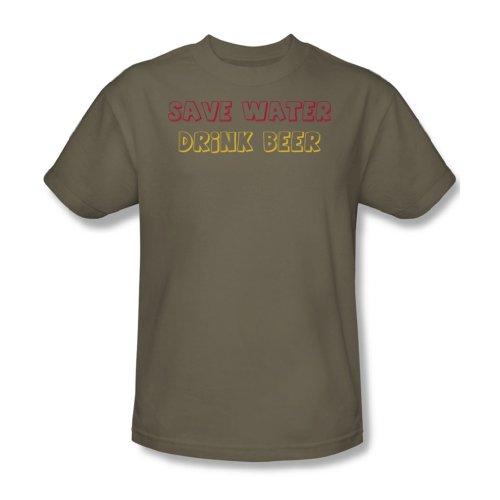 Sparen Sie Wasser-Getränk-Bier - Adult Khaki Kurzarm T-Shirt für Männer, XX-Large, Khaki