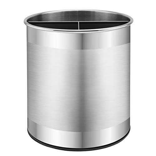 Bartnelli Extra Large Stainless Steel Kitchen Utensil Holder - 360° Rotating Utensil Caddy - Weighted Base for Stability - Utensil Countertop Organizer Crock With Removable Divider for Easy Cleaning