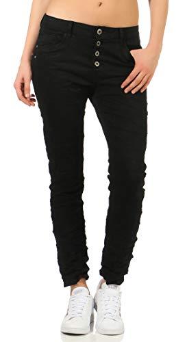 Karostar Damen Jeans Stretch Moderne Chino Lange Hose Boyfriend Pants Hüftjeans Skinny 58 (48, Schwarz)