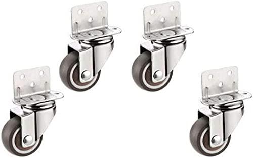 QHCS Ruedas (4 Juegos) Ruedas giratorias de Goma, Ruedas para Muebles, Mini Equipo Mini Ruedas, Instalación de férula Fija Universal Tipo L, Protección del Piso - Silencioso - Antidesgaste - Roda