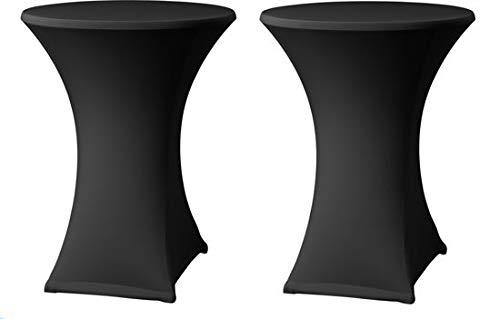 MaxxHome Housse de Table pour Table Debout - 2 Housses pour Table de Bistro- 80 x 110 centimètres - Housse élastique Spandex pour Table Haute – Noir