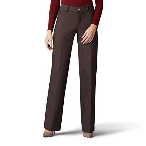 LEE Women's Flex Motion Regular Fit Trouser Pant, Roasted Chestnut, 12 Short
