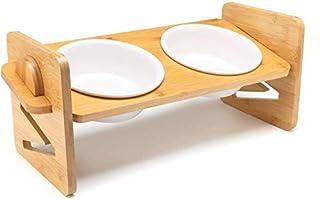 猫食器 犬食器 ペットの食器 ペット 食器スタンド フードボウル 水ボウル 犬,猫用 セラミックボウル 陶磁器碗 竹製 高さ調節可能 (小型 36*14.2cm)