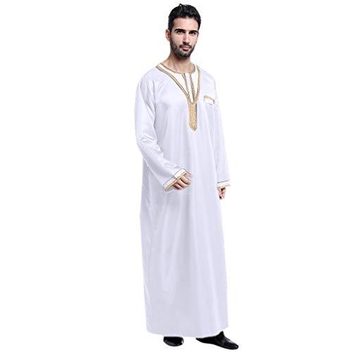 Vovotrade Homme Musulmane Embroidered Robe Turkish Dubai Thawb Abaya Chemise Arabe Islamique Caftan Jalabiya Casual Ethnique Musulmane Ramadan Islamique Kaftan Arabe Longue Manches Shirt