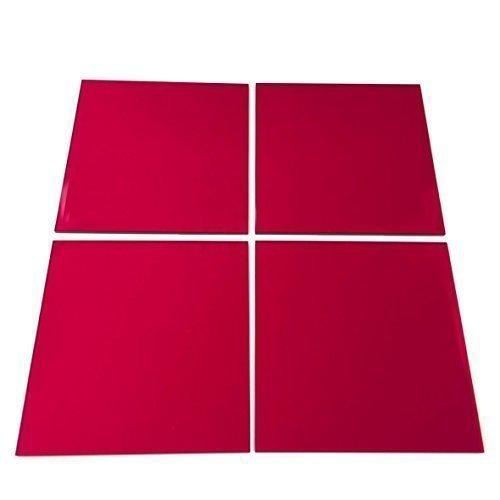 Super Cool Creations verspiegelt rot quadratisch Mosaik Wand Fliesen–10Stück–5cm x 5cm